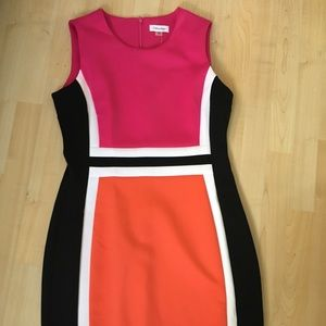 Calvin Klein sheath dress colorblock 12